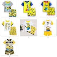 Wholesale Pyjamas Summer - 2017 new kids clothing summer boys girls printed cartoon T shirt +pants 2pieces pajama set sleepwear homewear pyjama 6sets lot