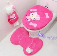 Wholesale Toilet Seat Covers Lids - 2017 new wholesale Hot Sale Hello KT bathroom set toilet set cover wc seat cover bath mat holder closestool lid cover 4pcs set