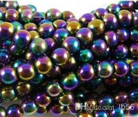 Wholesale Multicolor Shamballa - 10mm Fasion Multicolor Hematite Loose ball Beads Shamballa Findings Fit DIY Bracelet Bead for bracelet hotsale DIY Findings Jewelry w93