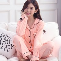 Wholesale Woman Home Wear Pajamas - 7 Colors 100% Cotton High-end Women Pajamas Set Long Pants + Tops Two Pices Long Sleeve Women Autumn Winter Casual Home Wear Sleepwear M-3XL
