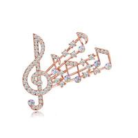 müzik broşları toptan satış-Güzel Müzik Notasyon Broş Eşarp Pimleri Parlak Kristal Rhinestone Müzik Kadınlar için Düğün Gelin Buketi Broş Broş Takı Toptan