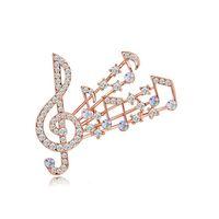 musikbroschen groihandel-Schöne Musik Notation Brosche Schal Pins Shiny Crystal Strass Musik Brosche für Frauen Hochzeit Braut Bouquet Broschen Schmuck Großhandel