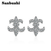 Sanbuzhi Brand Fashion Elegant Crystal Flower Boucles d'oreilles en argent pour femme Simulated Diamonds Lasting Shine Simple Ear Ring ZE52