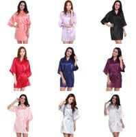 Wholesale Kimono Robe Satin Wholesale - Women Silk Satin Short Night Solid Kimono Robe Fashion Bath Robe Sexy Bathrobe Peignoir Femme Wedding Bride Bridesmaid Robe BC510