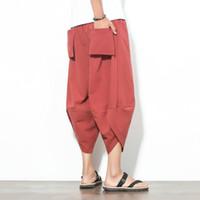 Wholesale Linen Pants Big Legged - M~5XL! 2017 Mew Men's clothing plus size Loose linen casual pants nine point big crotch pants
