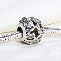 Wholesale Mouse Love - Real 925 Sterling Silver Not Plated Michey Mouse INFINITE LOVE OPENWORK European Charms Beads Fit Pandora Snake Chain Bracelet DIY Jewelry