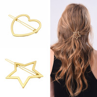 Wholesale Metal Star China - Vintage Gold Silver Tone Metal Heart Star Large Statement Hair Clip Hairpins