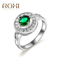 Wholesale Exotic Fashion Rings - Selling 14K platinum ring all-match green racket fashion jewelry wholesale exotic lady