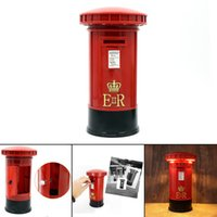 Wholesale British Lamp - Retro Mailbox Shape Piggy Bank with LED Night Light Europe and the British Lighting Lamp Money Boxes luminarias Fixtures Portable Lanterns