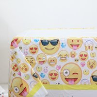 Wholesale Creative Emoji Tablecloth Kids Favors Tablecover Baby Shower Maps Happy Birthday Party Decoration Events Supplies