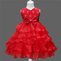 Wholesale Taffeta Baptism Dresses - Girl 2017 Sleeveless Kid Girl party dress princess dress Nina 6 7 8 year Children birthday dress Christmas, baptism