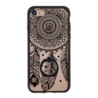 Wholesale 3d Printed Ring - hot sale phone case ultra thin ring stand lace 3d embossed dream catcher printing crystal hard case for iphone 7 6 4.7