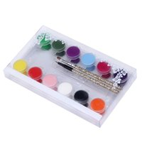 Wholesale Acrylic Colors For Drawing - Wholesale- 1 SET 12 Colors Painting Acrylic 3D Nail Art Paint Tube Draw Nail Art Tip UV Gel Gift For Women's Beauty New Arrival Nov1