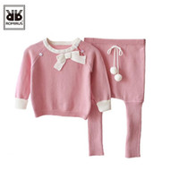 Wholesale Girls Hot Green Pant - Wholesale- Hot Sale Baby Sweater Cute Bow Girls Clothing Set Warm Sport Suit Kids autumn Winter Long Sleeved T shirt+Pants Boys Clothes Set