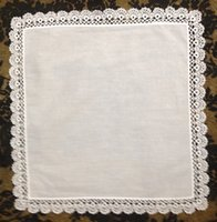 "Wholesale Embroidered Home Textiles - Home Textiles Venice lace High Quality White100%cotton Ladies Handkerchief 12PCS lot 12x12""Elegant Embroidered crochet lace edges For Bride"