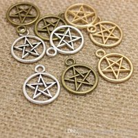 Wholesale Pentagram Silver Charm - Three Color Vintage Metal Alloy Pentagram Charms Jewelry Pendant Charms Findings 100pcs 20*25mm CP266