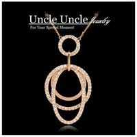 Rose Gold Color Rhinestones austríacos Lapped Oval Shape Design Tasseled Lady Long Necklace Sweater Cadeia Atacado