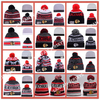 Wholesale Cashmere Hat Sale Women - 12 Colors Hot Sale CHICAGO BLACKHAWKS Hockey Beanies Team Hat Winter Caps Popular Beanie Caps Skull Caps Best Quality Sports Beanies