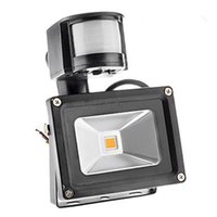 Wholesale Outdoor Sensor Flood Light - LED Outdoor Floodlight PIR IP66 Motion Sensor RGB LED Waterproof Flood Light 10W 20W 30W 50W 4200Lm Warm  Cool White 85-265V 140 Degree