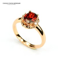ruby red crystal achat en gros de-Beau!!! Rose Gold Color Austrian Crystal Red Ruby Gemstone Erstwhile Mémoire Design Lady Finger Ring Wholesale