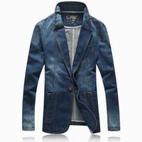 mevcut aydınlatma toptan satış-Toptan-Sıcak 2016 ilkbahar sonbahar rahat Blazer erkekler gelgit akımı erkek slim fit denim elbise tek düğme jean ceket ceket açık mavi 4XL