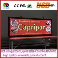 bildschirm farbe geführt großhandel-LED-Laufschriftzeichen 15 '' X 40 '' / Unterstützung RGB-Vollfarben-LED-Werbebildschirm / programmierbare Innenbild-LED-Anzeige