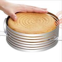 kek tabakası dilimleme makinesi toptan satış-12 inç / 23-30 cm Ayarlanabilir Paslanmaz Çelik Ölçeklenebilir Mus Kek Kek Katmanlı Dilimleme Kesici Kalıp, DIY Pişirme Aracı Kiti Set