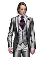Wholesale ceremony suits men - Wholesale- New Collection Slim fit Shinny gray Wedding Ceremony suit Groom Tuxedos groomsman Bridegroom Suit Jacket+Pants+Tie+Vest