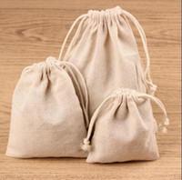 Wholesale Mini Gift Favor Bag - Wholesale- Cotton Linen Mini Muslin Cotton Gift Drawstring Bags 7x9cm Necklace Bracelets Bangle Jewelry Wedding Party Favor Holders
