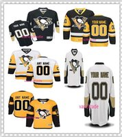Wholesale Highest Number - Personalized Pittsburgh Penguins Hockey Jersey Men's stitched Any name Any Number white yellow Black stitch High quality Ice hockey Jerseys