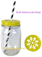 Wholesale Bamboo Candles Wholesale - Wholesale- 15pcs (Lids Only) Rustic Yellow Pewter Daisy Cut Mason Jar Lids For Straws or Candle lights Decor Wedding Birthday Party Favors
