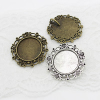 pedidos de fotos al por mayor-Sweet Bell Min order 10 unids New Vintage Bronce redondo Cameo Filigrana Cabochon Ajustes 39mm (Fit 25mm dia) Metal Foto Jewelry Making A4116