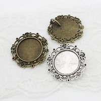 Wholesale Vintage Bronze Bell - Sweet Bell Min order 10pcs New Vintage Bronze round Cameo Filigree Cabochon Settings 39mm(Fit 25mm dia) Metal Photo Jewelry Making A4116