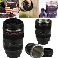 Wholesale Camera Coffee - Camera Lens Coffee Mugs 400ML Stainless Steel Liner Tea Cup Creative Cups And Mugs With Lid Lens Bottle OOA2261