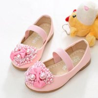 Wholesale Kids Flat Bow Shoes - Kids Girls Pearl Shoes Baby Girl Loving Heart Casual Flat Sandals 2017 Princess Bow PU Leather Sandals Children's Dress Shoes B264