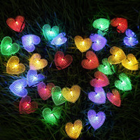 высококачественные ландшафтные настенные светильники оптовых-30LED Кристалл в форме сердца на открытом воздухе рождественские украшения цвет строки огни, 19.7ft солнечной энергии в форме сердца огни