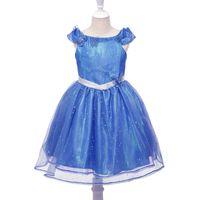 Wholesale princess cinderella costumes online - Blue Girl Cinderella Dress Sequins Tulle Princess Butterfly Tutu Dress Party Halloween Cosplay Cinderella Costume