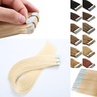 Wholesale Resika Grade A Tape hair extensions human pu weft tape in human hair extensions Bleach Blonde Brazilian Straight Hair inch