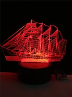 Wholesale Sailing Candles - Creative 3D Sailing Boat ship Night Light USB Led Table Desk 7Colors change Atmosphere illusion Lamp