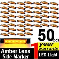 Wholesale Led Trailer Marker Lights Amber - 50X Amber 12V 6 LED Side Marker Lights Car Lorries Buses Truck Trailer Clearance