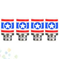 ingrosso suggerimenti america-Il più nuovo Captain America Style 510 Punte di gocciolamento in ceramica Punta a goccia larga per 510 EGO RDA Vendita calda DHL gratuito