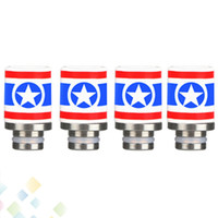 Le plus récent Captain America Style 510 en céramique Drip Tips Wide Bore Drip Tip pour 510 EGO RDA Hot Selling DHL Free