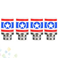 Wholesale america tips - Newest Captain America Style 510 Ceramic Drip Tips Wide Bore Drip Tip for 510 EGO RDA Hot Selling DHL Free