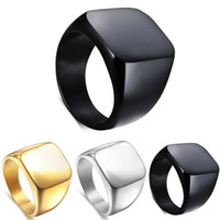 Band Rings black wedding band - Fashion Simple Men Ring Solid Polished Stainless Steel Band Biker Signet Ring US Colour