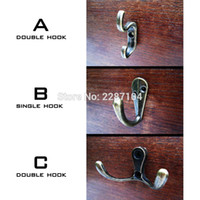 Wholesale Small Wall Hooks - Wholesale- 12X Decor Antique Brass Vintage Mini Small Jewelry Chest Box Door Wall Furniture Wardrobe Cup Clothes Hat Key Double Hook Hanger