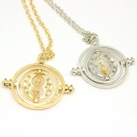 Wholesale Tin Box Printed - Free Shipping Printed Hermione Rotating Time Turner Gold Silver Necklace Granger Props Gift Box Necklace