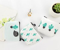 Unisex organic cotton purses - Spring Canvas Zipper Womens Wallets Print Cactus Ladies Money Purse Coin Pocket Card Holder Clutch Bag Mini Makeup Pouch