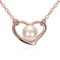 Wholesale Rhinestone Necklace Wholesale K - Fashion K Gold Women's Necklace Pandants Necklace Link Chains Heart Rose Shape AKN047 AKN060