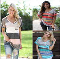 Wholesale Ladies Shirts Large Pockets - Foreign trade ladies T-shirt in Europe and the us version to Large size comfortable multicolor splicing pocket stripe with short sleeves