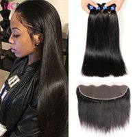 Wholesale Mixed Length Wholesale Weave - Ear to Ear Lace Frontal with 3 Bundles Brazilian Virgin Human Hair with 13*4 Top Lace Frontal Closure Hairline Lace Frontal with Baby Hair
